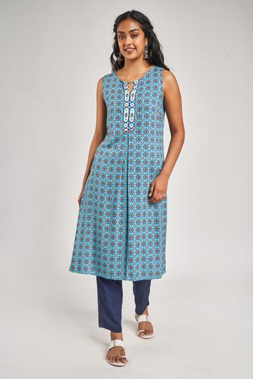 Global Desi | Blue Geometric Printed Tunic