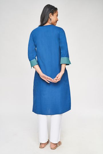 Global Desi | Blue Solid Kurta