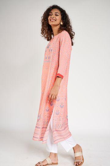 Global Desi | Pink Floral Printed A-Line Kurta