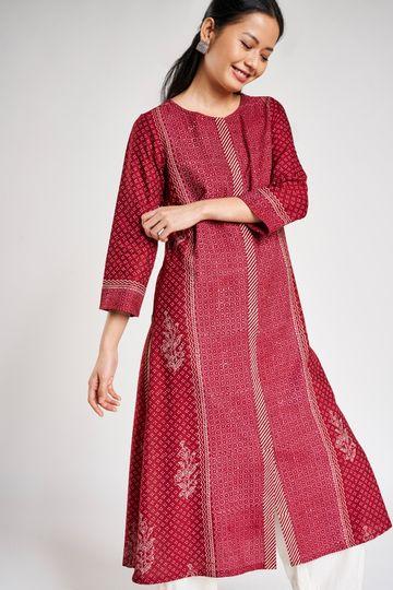 Global Desi   Maroon Floral Printed A-Line Kurta