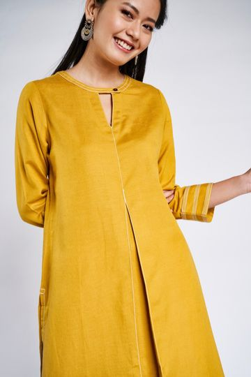Global Desi | Mustard Solid Kurta