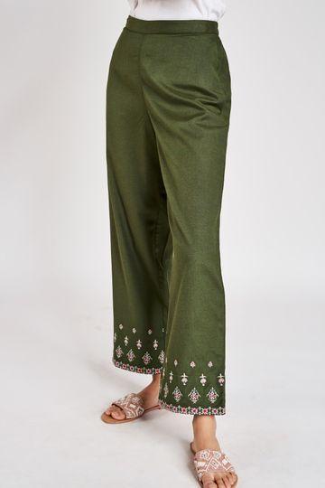 Global Desi | Olive Solid Embroidered Bottom
