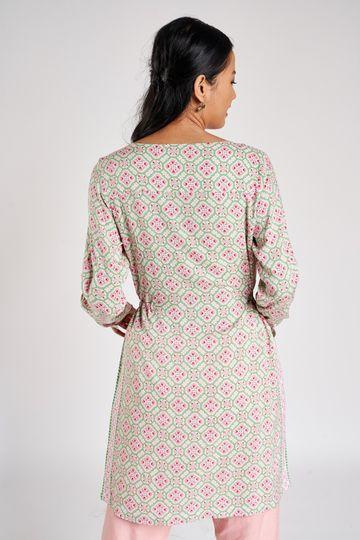Global Desi | Pink Geometric Printed Tunic