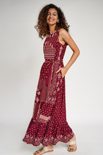 Global Desi | Maroon Floral Printed Fit And Flare Dress