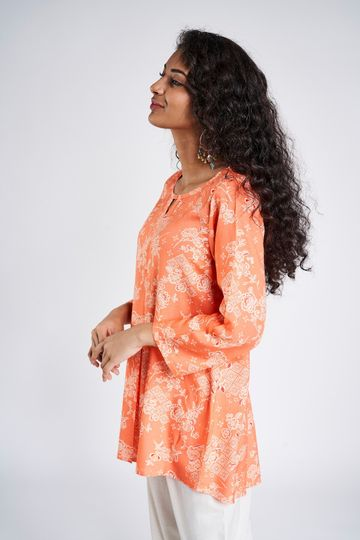 Global Desi | Coral Floral A-Line Top