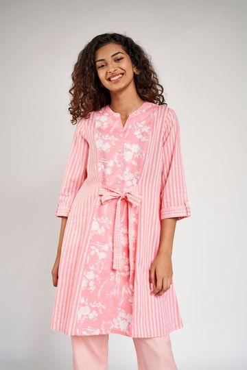 Global Desi | Pink Floral Printed Tunic