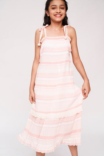 Global Desi | Peach Striped Printed Trapese Dress