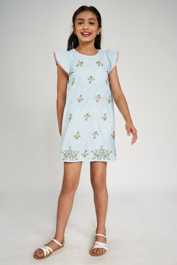 Global Desi | Mint Striped Embroidered A-Line Dress
