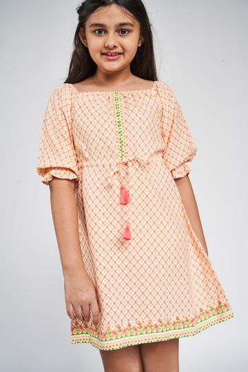 Global Desi | Mustard Floral Printed Fit And Flare Dress