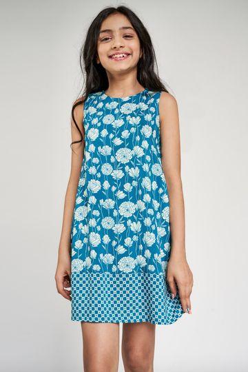 Global Desi | Teal Floral Printed A-Line Dress