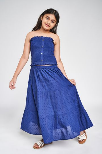Global Desi | Dark Blue Solid Fit And Flare Suit