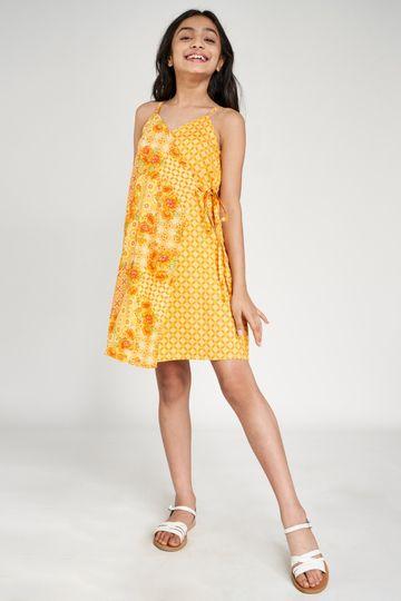 Global Desi | Orange Floral Printed A-Line Dress