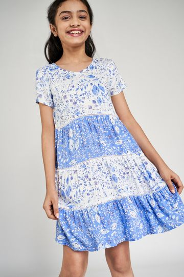 Global Desi | Blue Floral Printed Fit And Flare Dress