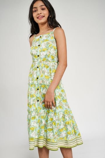 Global Desi | Off White Floral Printed Trapese Dress