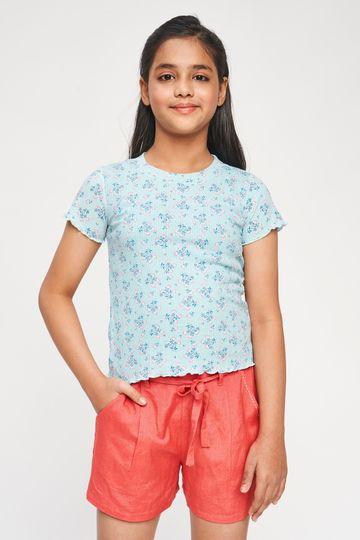 Global Desi | Blue Floral Printed Top
