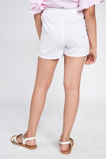 Global Desi | White Solid Embroidered Bottom