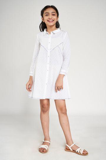 Global Desi | White Self Design Embroidered Shirt Style Dress