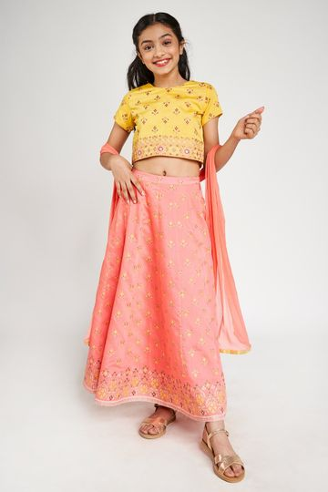 Global Desi | Yellow Ethnic Motifs Printed Set