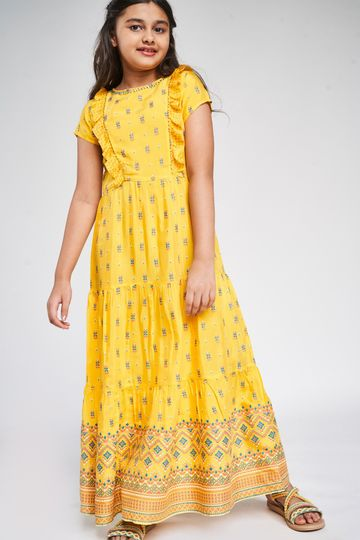 Global Desi | Yellow Ethnic Motifs Printed Fit And Flare Dress