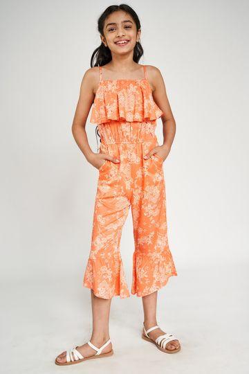 Global Desi | Coral Floral Printed Crop Jumpsuit