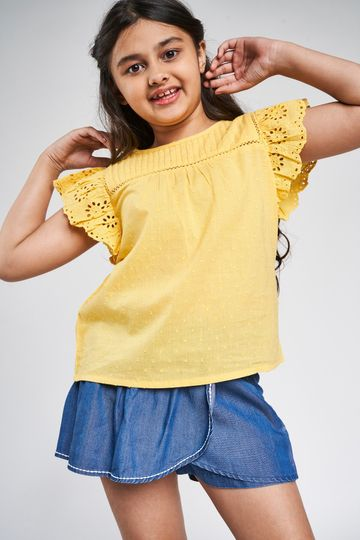 Global Desi | Yellow Self Design A-Line Top