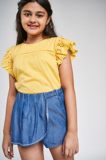 Global Desi | Yellow Self Design A-Line Top