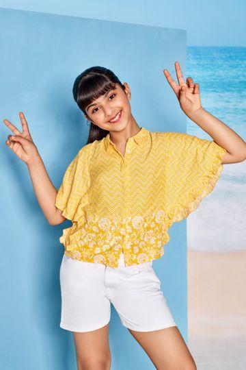Global Desi | Yellow Striped Shirt Style Top