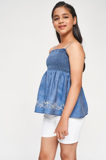 Global Desi | Blue Solid Embroidered Fit And Flare Top