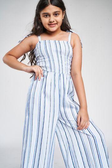 Global Desi | Blue Striped Printed Jumpsuit