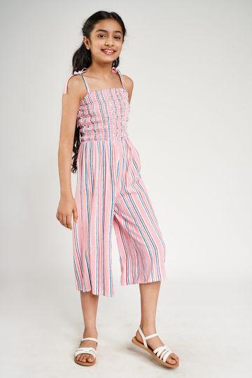 Global Desi | Pink Striped Printed Jumpsuit