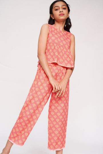 Global Desi | Coral Floral Printed Fit And Flare Suit
