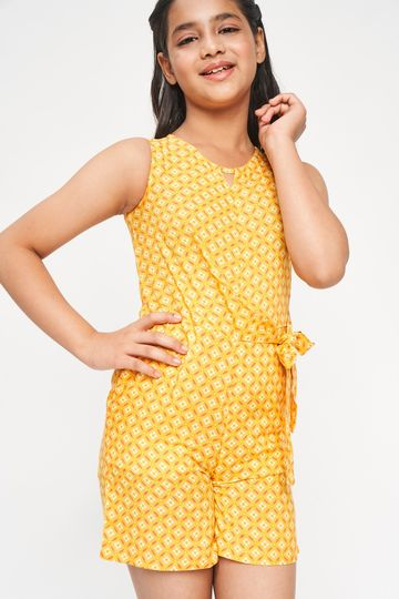 Global Desi | Yellow Geometric Printed A-Line Jumpsuit