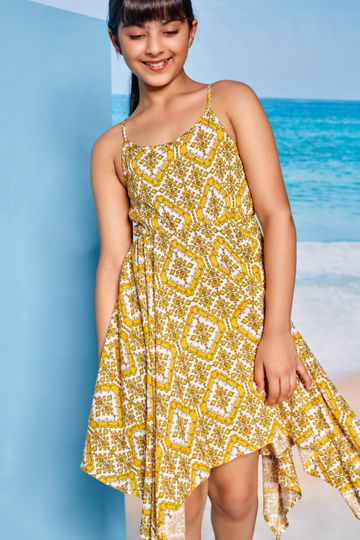 Global Desi | Mustard Tribal Printed Fit And Flare Dress