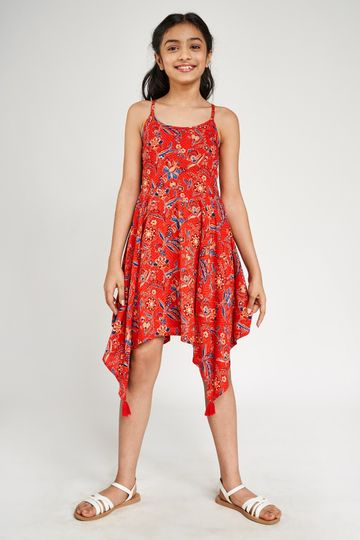 Global Desi | Coral Tribal Printed Fit And Flare Dress