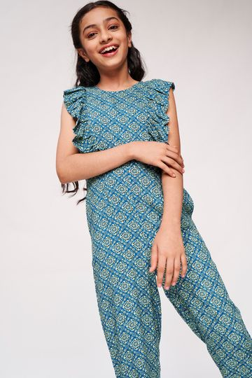 Global Desi | Aqua Floral Printed Jumpsuit