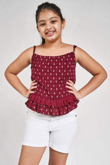 Global Desi | Maroon Tribal Printed Fit And Flare Top