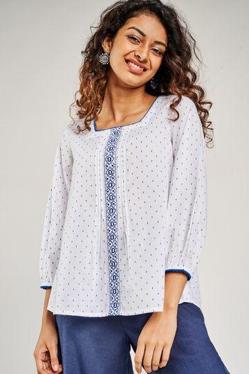 Global Desi | Blue Self Design Embroidered A-Line Top