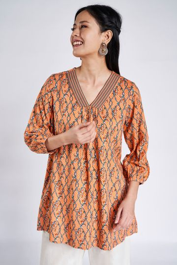 Global Desi | Coral Floral A-Line Tunic