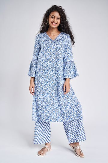 Global Desi | Blue Floral Printed Kurta