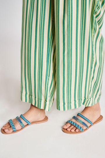 Global Desi | Green Striped Printed Bottom