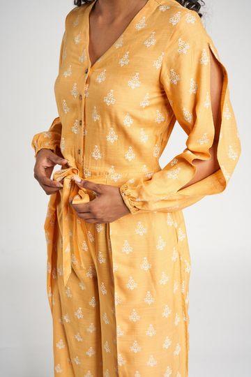 Global Desi | Mustard Floral  Jumpsuit