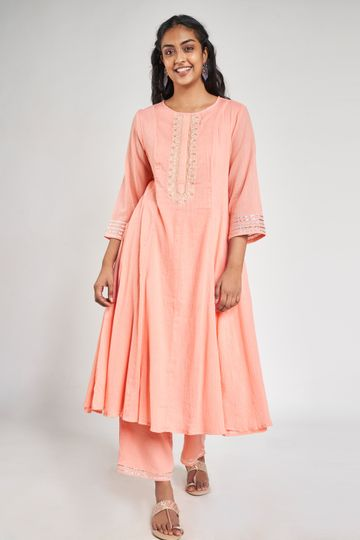 Global Desi | Pink Embroidered Suit