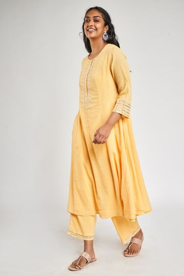 Global Desi | Yellow Embroidered Suit