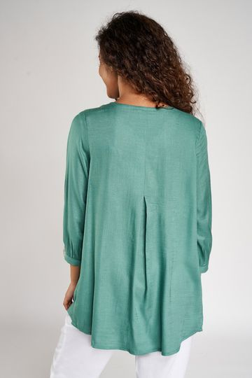 Global Desi | Green Solid Embroidered A-Line Top