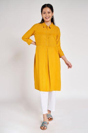 Global Desi | Yellow Striped A-Line Kurta