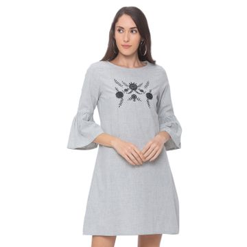 globus | Globus Grey Embroidereded Dress