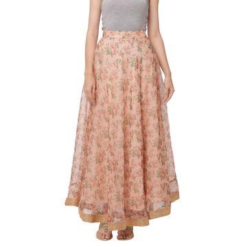 globus   Globus Pink Poly Organza Printed Skirt