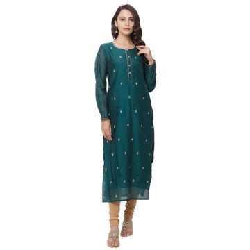 globus | Globus Green Embroidered Kurta