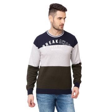 globus   Globus Olive Colourblocked Pullover Sweater