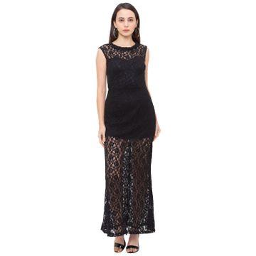 globus | Globus Black Self Design Dress